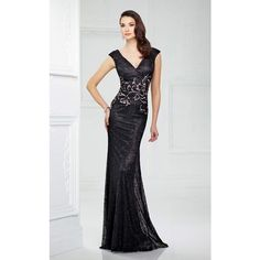 Mon Cheri 217946 Wedding Guest Dress Long V-Neck Mid-Length (3.860 DKK) ❤ liked on Polyvore featuring dresses, gowns, black, formal dresses, mother of the bride long dresses, formal evening dresses, formal evening gowns, long lace dress and long gown