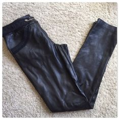 """♣️ BCBGMAXAZRIA BCBG leather pants jeans black This is a super soft pair of Bcbgmaxazria 100% leather jeans /pants. Size 4 with a fabric belt that has a chain closure. Completely lined. Waist 30"""" rise 8"""" inseam 32"""" zippers at the bottom of the ankle. Worn once.  All items are from a clean, smoke free home  Please use the offer button... We will not answer ? on price in the comments.   Trades  Modeling BCBGMaxAzria Jeans Boot Cut"""
