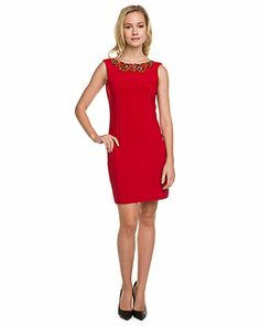 Some of you have to get in on this: Mark + James by Badgley Mischka Red Beaded Cowl Back Dress