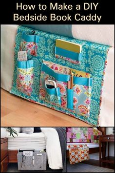 Keep essential items at reach with this DIY caddy. Bedside Caddy, Sewing Projects, Craft Projects, Why Book, Cabbage Patch, Saving Ideas, Space Saving, Sewing Patterns, Quilting