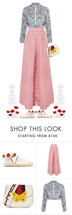 """In Bloom'"" by dianefantasy ❤ liked on Polyvore featuring Raye, Johanna Ortiz, Gucci, Topshop, stripesonstripes and PatternChallenge"