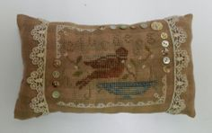 """Made by  Deb Kline Koch  shared with Prim Stitchers Society                 """" With antique lace from my great grandmother's sewing box!!! Me .... I sewed! WTNT's """"Springtime Messenger""""!"""