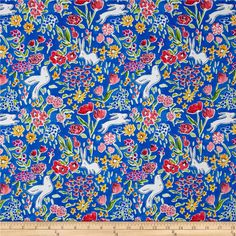 Michael Miller Sommer Garden Blueberry from @fabricdotcom  Designed by Sarah Jane for Michael Miller Fabrics, this cotton print fabric is perfect for quilting and craft projects. Colors include blue, white, yellow, pink and green.