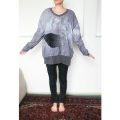 Light Grey Swan Aplication Oversized Cotton Shirt ($80) ❤ liked on Polyvore featuring tops, t-shirts, silver, women's clothing, cotton t shirt, light grey shirt, t shirts, over sized shirts and flower shirt