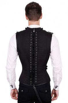 a9cbfa397ad Asphodel Gothic Mens Military Corset Waistcoat Black VG-16411 - Click to  enlarge www.
