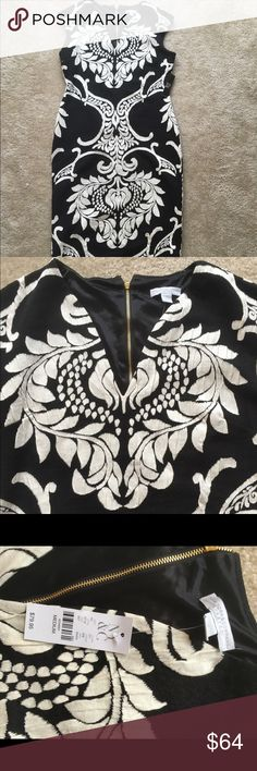 REDUCED Damask Print Dress Beautiful black and white dress. Long and fitted but very comfortable. Never worn and still has the tag! New York & Company Dresses Midi