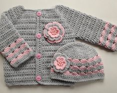 crochet baby cardigan Crochet Baby Sweater Cardigan and Hat Set gift coat jacket cardigan, baby shower photo prop girl Crochet Baby Sweaters, Crochet Baby Cardigan, Baby Girl Sweaters, Crochet Baby Clothes, Crochet Baby Hats, Baby Blanket Crochet, Baby Knitting, Booties Crochet, Crochet Girls