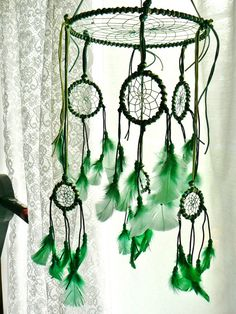 Green Dream Catcher - instead of a normal mobile. Love It!!