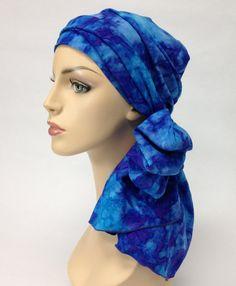 Turban Chemo Hat Head Wrap Alopecia Scarf Oasis Blues, Hat & Scarf Set