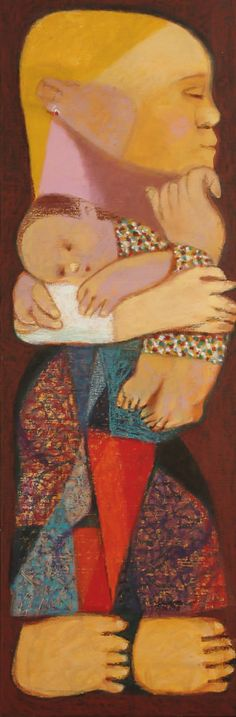 Mauro Malang Santos Mother and Child 1998 Oil on canvas 91 x 31 cm x 12 in) Mother And Child Painting, Malang, Global Art, Art For Sale, Oil On Canvas, Art Decor, Contemporary Art, Street Art, Art Pieces