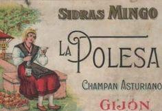 Antigua etiqueta de LA POLESA, elaborada por SIDRAS MINGO, de Gijón.