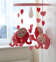 Pink Elephant Mobile  Babys Mobile  Childrens Mobile by FlossyTots, £52.99