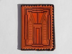 """Soviet Vintage Notebook Cover Leather Embossed;  Estonian leather factory """"LINDA"""""""