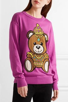 Moschino - Intarsia Cotton Sweater - Pink - xx small