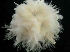 Ivory Ostrich feather bouquet by ChloeAnnDesigns on Etsy, $85.00