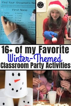 Best Winter-Themed Classroom Party Activities Host a classroom holiday party in your kids' classrooms or scout groups with low-prep, low-mess, low-cost games, activities, and crafts.
