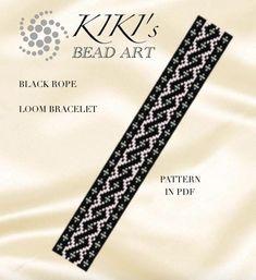 Bead loom pattern Black rope geometric LOOM bracelet pattern