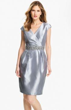 Embellished Waist Taffeta Sheath Dress