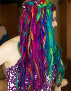 Get ready to swoon at Lizzy & Derek's rainbow hair and mohawk at their gorgeous wedding - Hair Styles Neon Hair, Ombre Hair, Pretty Hairstyles, Wedding Hairstyles, Updo Hairstyle, Hairstyle Ideas, Pelo Multicolor, Pretty Hair Color, Dyed Hair