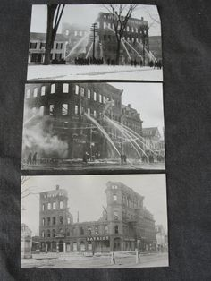 Set of 3 Antique Real Photo Postcards The Daily Patriot Fire by marketsquareus on Etsy