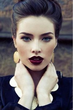 I love this black cat eye and wine lip! Wine lipstick is so classic and different!  This bold look will be used with the bold and edgy pieces in my collection.