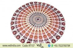Colorful Peafowl Mandala Roundie Beach Towel Hippie Round Bohemian Tapestry With Peacock Design