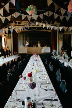 Long Tables Bunting Crafty Budget Polka Dot Village Hall Wedding https://matildarosephotography.com/