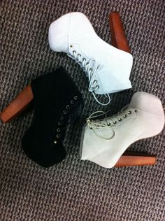 I have these in blue suede. But now I want them in black. Jeffery Campbell LITA