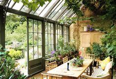 orangery, spring interior, indoor plants, english house