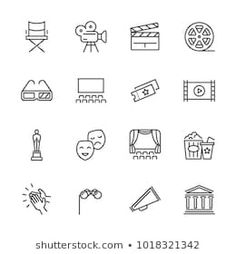 Entertainment and performance line vector icons. Theater and cinema outline symbols. Cinema and performance entertainment, movie film and show illustration Ankle Tattoo Small, Small Tattoos, White Tattoos, Ankle Tattoos, Wrist Tattoo, Tiny Tattoo, Temporary Tattoos, Broadway Tattoos, Movie Tattoos