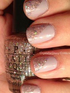 Diagonal Diva - ​Incorporate some geometric trends into your wedding day look with a two-tone glitter and nude nail.