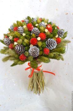 Купить «Дары леса» букет из сухоцветов - сухоцветы, зимний букет, подарок девушке, подарок подруге