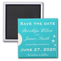 Shells On Beach Wedding Save The Date Magnet