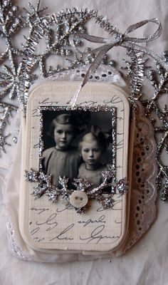 Sweet Sisters HANDMADE ALTERED Tin Ornament.