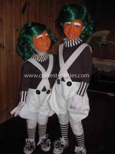 Homemade Willy Wonka and Oompa Loompa Family Costumes: For Purim I wanted to be original. I find store bought costumes to be cheap looking so decided to do it myself. We decided to do the 1971 Gene Wilder version