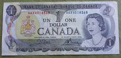 Canada $1 One Dollar Bill 1973 Banknote Crisp and clean no writing holes tears