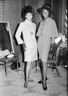 """Barbara Smith (right) and another model pose for the legendary Pittsburgh photographer, Charles """"Teenie"""" Harris, backstage at a fashion show around 1969. Barbara Smith would go on to a successful modeling career and become even better known as a restaurateur, lifestyle expert and entrepreneur, B. Smith. Photo: Carnegie Museum of Art/Heinz Family Fund."""
