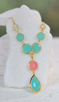 Turquoise and Coral Pink Jewel Pendant Statement