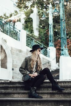 Military jacket, boots, hat, mini bag, knitwear Mini Bag, Military Jacket, Knitwear, Hipster, Hat, Boots, Skirts, Jackets, Style