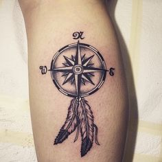 Compass with Feather Tattoo