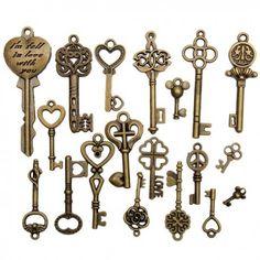 Kadell Skeleton Bronze Key Pendant Antique Vintage Old Look Heart Bow Lock Steampunk DIY Crafts Pendent Gift, Adult Unisex Antique Keys, Vintage Keys, Retro Vintage, Diy Steampunk, Jewelry Sets, Jewelry Making, Jewelry Findings, Key Pendant, Wholesale Jewelry