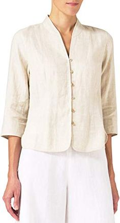 Shop a great selection of Vivid Linen Fitted Mandarin Collar Jacket. Find new offer and Similar products for Vivid Linen Fitted Mandarin Collar Jacket. Mandarin Collar Jacket, Womens Linen Clothing, Pantalon Large, Pants For Women, Clothes For Women, Linen Jackets, Linen Blouse, Summer Outfits Women, Sewing Clothes