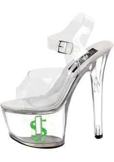 f72281af2cfe7 Tip Jar Clear Green Money Platform Sandals with Stiletto heel inches and adjustable  ankle strap. Tip Jar platform stripper shoes with green glitter dollar ...