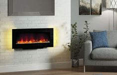 Be-Modern-Amari-38-2kW-Black-Glass-Remote-Control-Electric-Fire-148768 Modern Electric Fires, Inset Electric Fires, Blue And Purple Mixed, Triple Wardrobe, Floor Space, Black Glass, Remote, Wall, Dancing
