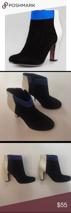 Sam Edelman Shay Suede Ankle Boots So cute Sam edelman boots! Black and Blue suede, white Leather. Excellent condition! Size 6.5. Sam Edelman Shoes Ankle Boots & Booties