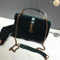 719d705f5cb76 2016 A W Saint Laurent Medium College Bag in Dark Green Velvet and Leather