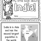 """This """"All About India"""" booklet can be used for a very basic country study in lower elementary grades! Just print out the pages, have kids cut alon. Around The World Theme, Kids Around The World, Teaching Geography, World Geography, Harmony Day, India For Kids, World Thinking Day, My Father's World, Cultural Studies"""