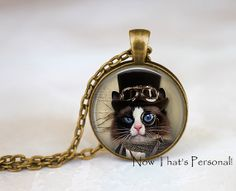 STEAMPUNK Cat necklace steampunk cat pendant by NowThatsPersonal, $12.95