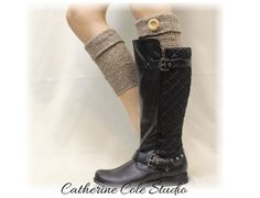 BROWN  Boot cuffs adorable cable knit cuff w/ real wood button perfect for all boot styles for fall Made in USA by Catherine Cole Studio BC1