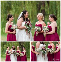 Bride & bridesmaids in front of the weeping willow trees at Redcliffe on the Murray in Pinjarra.  Lovely hues of burgandy, pinks & reds in the florals by Sweet Pea & Pebbles.